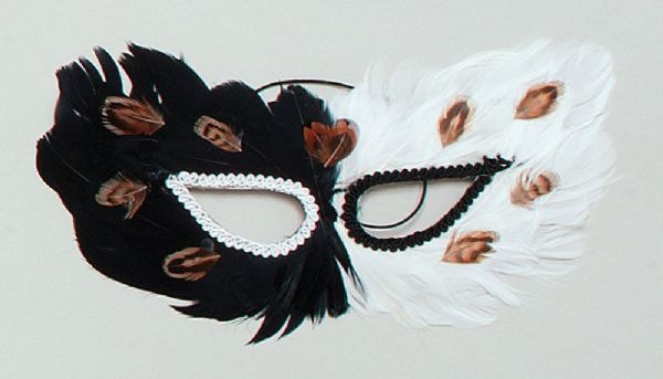 Black Feather Eyemask Masquerade Ball Eye-Mask Eye Mask Fancy Dress